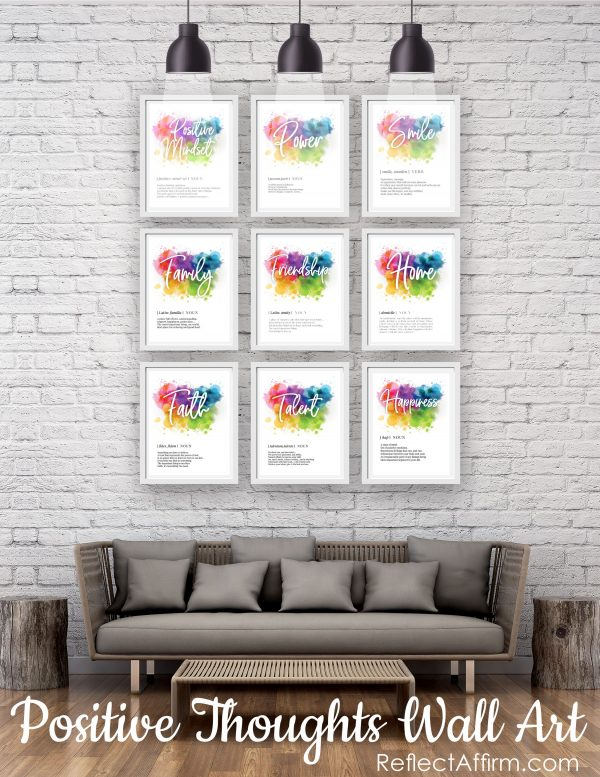Give yourself a dose of positivity with these beautiful Positive Thoughts Posters. Make your home feel more uplifting & positive.
