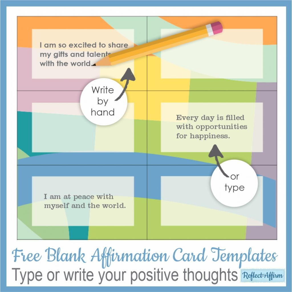 This free set of blank affirmation card templates can help you to carry those positive thoughts in your pocket to remind you all day long.