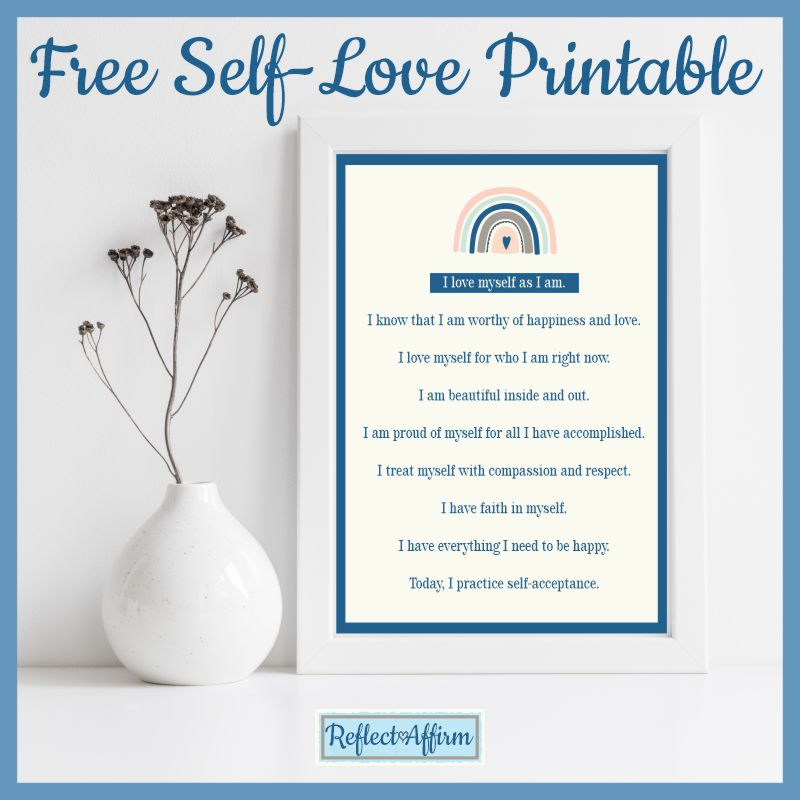 Self-love affirmations help you feel positive and happy. You can download the self love affirmations PDF from ReflectAffirm
